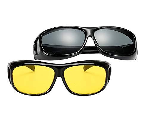 BOZEVON Überzieh-Sonnenbrille für Herren und Damen - Nachtsichtbrille UV400 Sonnenbrille Fit-over für Brillenträger, Schwarz & Gelb