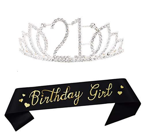 Silber-Tiara und Schärpe zum 21. Geburtstag, Partyzubehör, für Mädchen, glitzernde Satin-Schärpe und Kristall-Tiara, Prinzessinnen-Geburtstagskrone für Mädchen, 21. Geburtstag, Party-Dekorationen