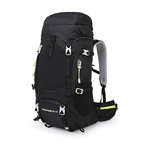 LILINA Backpack 50L hiking (45 + 5) Nylon Large capacity Emergency Bag with Backpack Ultralight Waterproof Protective Case for Trekking Mountaineering Climbing Sport Travel Camping,Black