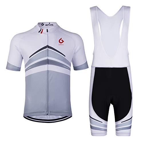 GWELL Herren Radtrikot Set Fahrrad Trikot Kurzarm und Radhose mit Sitzpolster Radsport-Anzüge Grau (mit weißer Trägerhose) 2XL