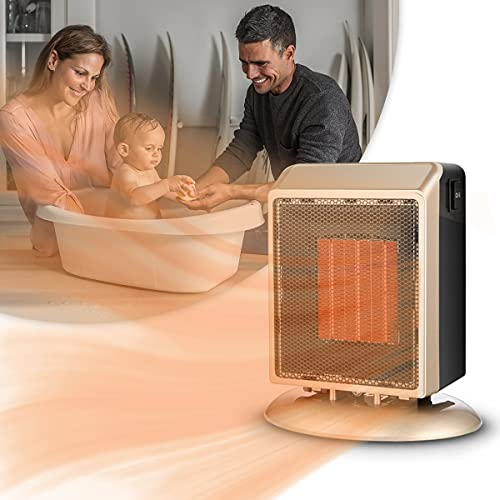 HIMAPETTR Mini Termoventilatore in Ceramica 2000W, Riscaldamento Efficiente, Protezione Anti-surriscaldamento, Sistema Anti-ribaltamento, 2 velocità, Rumore Basso, per Ambienti di 11-20m²,d'oro