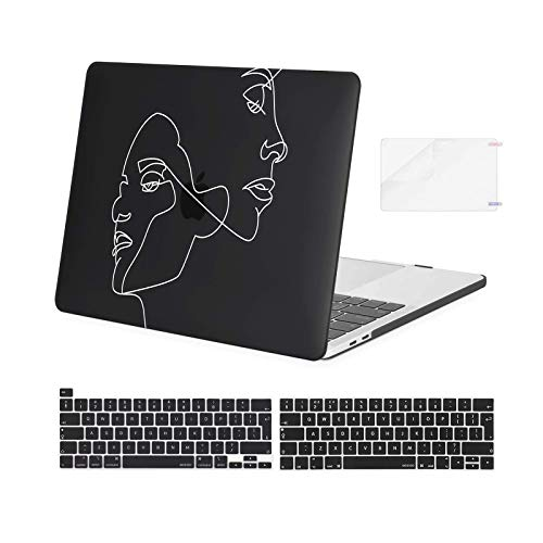 MOSISO Compatible with MacBook Pro 13 inch Case 2016-2020 Release A2338 M1 A2251 A2289 A2159 A1989 A1706 A1708, Plastic Face Sketch Hard Shell & Keyboard Cover Skin & Screen Protector, Black