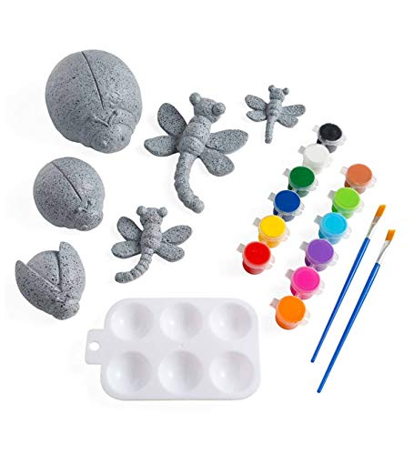 HearthSong Color Pops Paint-Your-Own Rocks Kit: Three Ladybugs and Three Dragonflies, Paint, and Paintbrushes