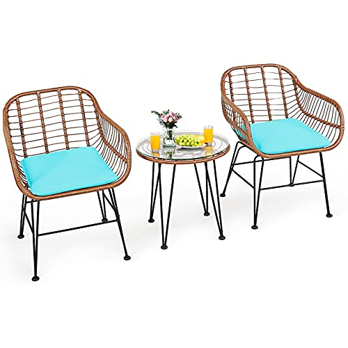 Tangkula 3 Pieces Patio Conversation Bistro Set, Outdoor Wicker Furniture w/Round Tempered Glass Top Table & 2 Rattan Armchairs, Bistro Chat Set w/Seat Cushions for Porch, Backyard (Turquoise)