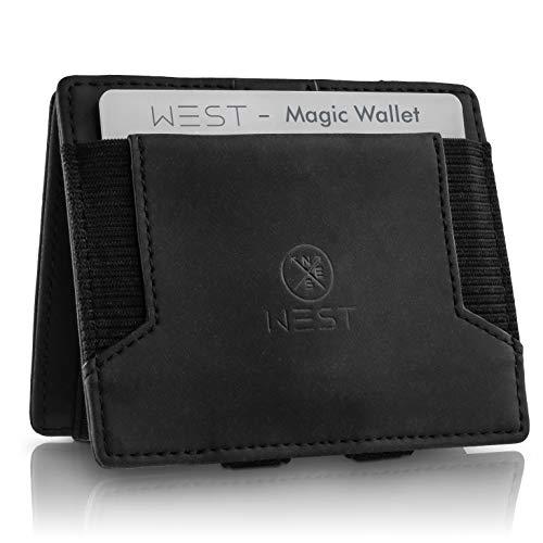 WEST - Magic Wallet (Schwarz) - Der HINGUCKER (kleines Münzfach) - inklusive Edler Geschenkbox - Geldbeutel mit Münzfach - Der perfekte Begleiter für unterwegs - RFID Datenschutz