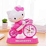 CNKC Hello Kitty Lazy Despertador Niño Lindo Creativo de Alarma Snooze silenciosa luz de la Noche de música de Hello Kitty Reloj de Bell Horologe Chronicker (Color : 02)