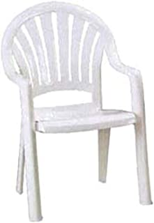 Grosfillex US092004 Pacific Fanback Stacking Armchair, White (Case of 4)