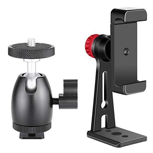 Neewer Handy Halter Klammer Tisch Stativ mit Mini Ball Kopf Blitzschuh Adapter fur 14 Zoll und 18 Zoll Ring Licht und iPhone Samsung Huawei Smartphone innerhalb einer 22 35 Zoll Breite
