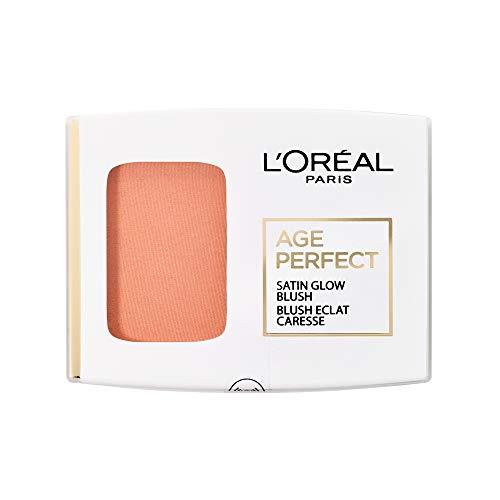 L'Oréal Paris Rouge Puder mit integriertem Spiegel und Pinsel, Für reife Haut, Age Perfect Satin Rouge, Nr. 110 - Aprikot/Peach, 1 x 5 g