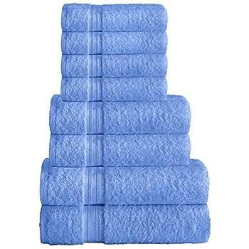 Juego de toallas 100 % algodón egipcio, 8 piezas, incluye 2 toallas de baño, 2 toallas de mano, 4 paños de lavado de cara – 500 g/m²: Amazon.es: Hogar