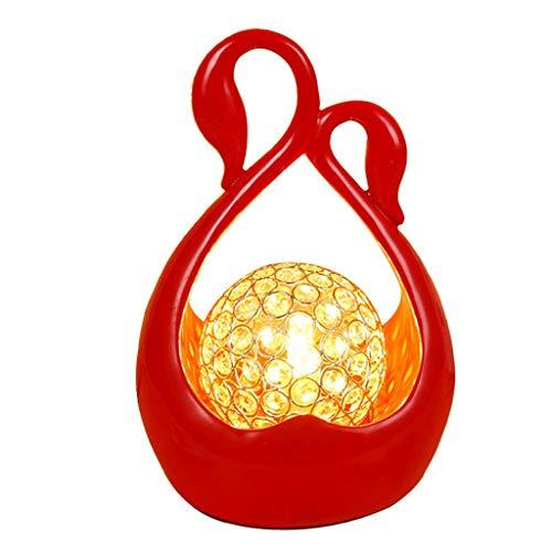 BJClight Clásico Moderno Simple Cisnes Lámpara de mesa de cristal Luz LED Ajustable Gran regalo de boda Rojo Sala de bodas Lámpara de escritorio Decoración de dormitorio Luz-Regulador de intensidad