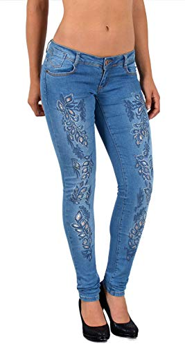 ESRA Damen Jeans Jeanshose Damen Hose mit Spitze Strass und Blumenstickerei bis Übergrösse J53