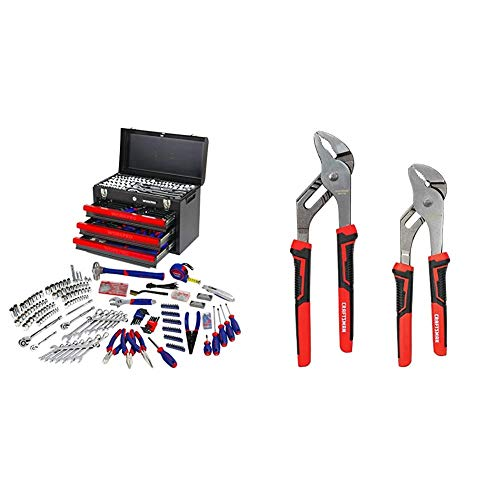 WORKPRO 408-Piece Mechanics Tool Set with 3-Drawer Heavy Duty Metal Box (W009044A) & CRAFTSMAN Pliers, 8 & 10-Inch, 2-Piece Groove Joint Set (CMHT82547)
