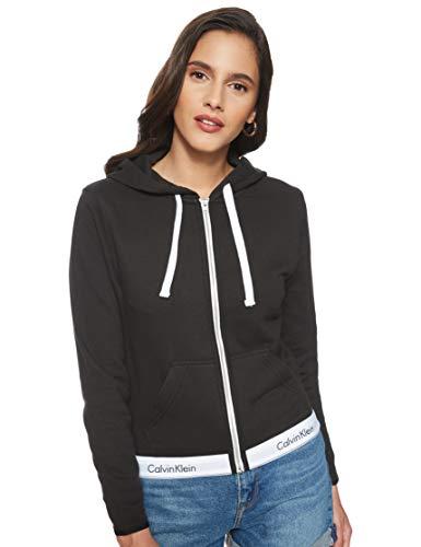 Calvin Klein damski Hoodie Full Zip Bluza z Kapturem, Czarny M