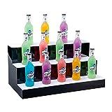 LSGMC 3 Tier LED beleuchteter Alkohol-Flasche Display Beleuchtetes Flasche Regal Acryl Weiß Bunte Beleuchtung Langlebige mit Fernbedienung für Hochzeit Weihnachtsfeier Club,100 * 33 * 21cm