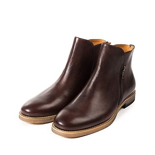 SMSZ Handgemachten Männer Chelsea Boots Retro europäische und amerikanische Arbeitskleidung Stiefel Mode-Leder-Männer Stiefel Nonchalant (Color : Brown, Size : 42-EU)