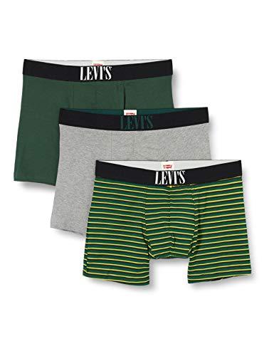 Levi's Mens Stripe Men's Giftbox (3 Pack) Boxer Briefs, Green, XL (3er Pack)