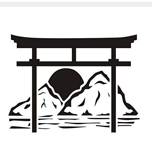 Etiqueta De La Pared Japón Torii Flor Tai Yang Liftable Extraíble De Goma De Vinilo Dormitorio Decoración Del Hogar Accesorios 59 * 44 Cm