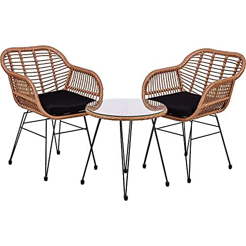 STILISTA 3-teiliges Poly-Rattan Bistroset 2 Lounge Sessel Beistell-Tisch Wetterfest Indoor Outdoor geeignet