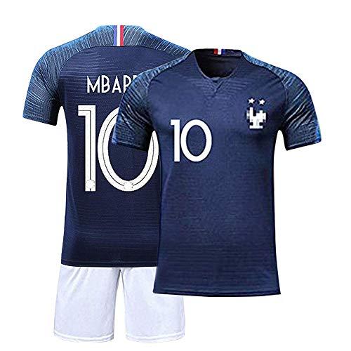 Solaxi Maillots de Sport Garçon Football T-Shirt et Short France 2 Étoiles Vêtements de Football Populaire pour Enfant Garçon Hommes, Coupe du Monde 2018 Français équipe Champion