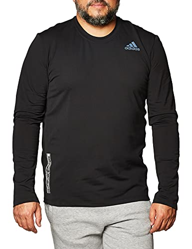 adidas Sha Gold Crew T-Shirt (Long Sleeve), Uomo, Uomo, FS4257, Nero/Nero, M