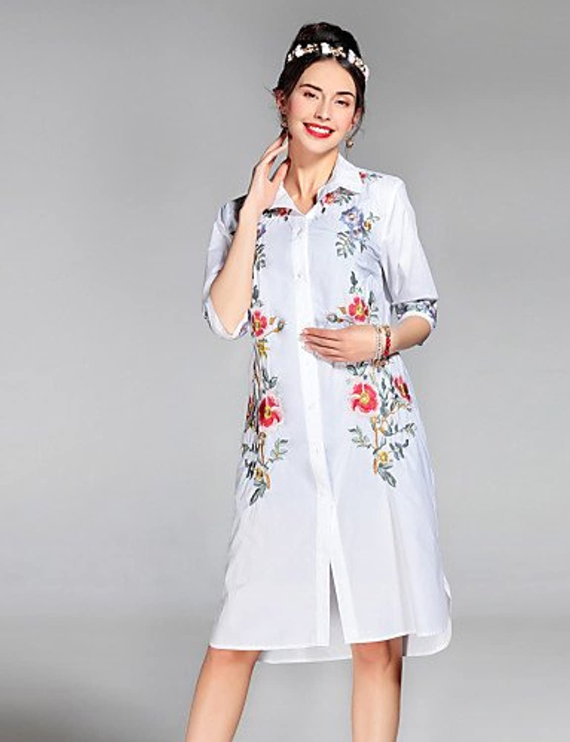 Xuanku PROVERB Women's Casual Daily Simple Summer Fall CoatFloral Shirt CollarLength Sleeve Regular Silk