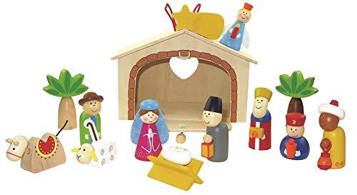 Fritz Cox® Kinderkrippe Weihnachten aus Holz - handbemalte Holz-Kinder-Krippe inkl. Krippenstall in Geschenkverpackung; ideal für Familien mit Kindern (Jerusalem)