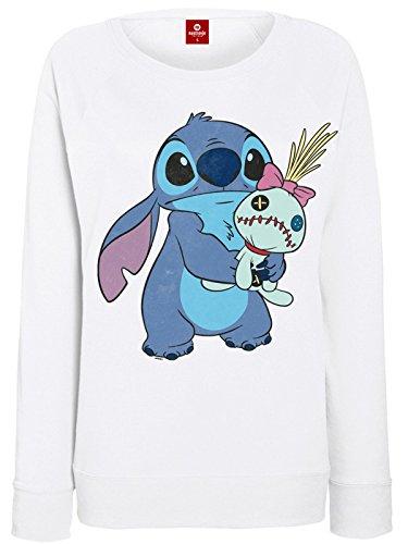 Lilo & Stitch - Pullover da donna – Ohana Stich & Scrump Girl (bianco) (S-XL) bianco S