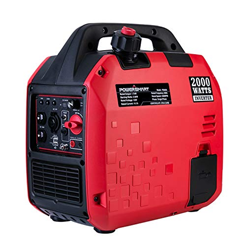 PowerSmart PS5020Super Quiet 2000 watt Portable Inverter Generator,Fuel Shut Off, CARB Compliant Red/Black