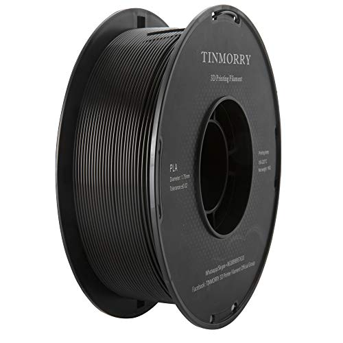 PLA Filament 1.75mm 1kg, TINMORRY PLA Filament 3D Printing Materials for 3D Printer, 1 Spool, Standard Black