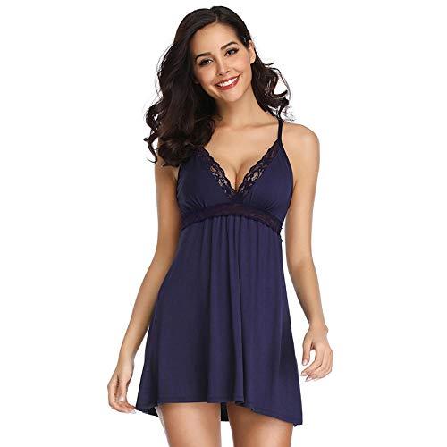 EJTAQ Spitze Negligee Baumwolle Nachtkleid Sexy V-Ausschnitt Spitze Plus Size Dessous-Blau_5XL
