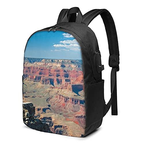 Beauty Grand Canyon, zaino da viaggio per computer portatile con porta di ricarica USB, per uomini e donne, 17 pollici - nero - taglia unica
