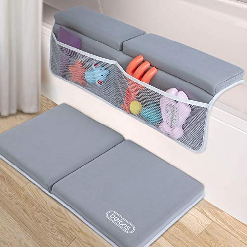 beiens Bath Kneeler with Elbow Rest Set, 1.5'' Thick Quickly Dry Kneeling Pad and Elbow Support for Knee & Arm Support Large Bathtub Kneeling Mat with Toy Organizer for Happy Baby Bathing Time (Grey)