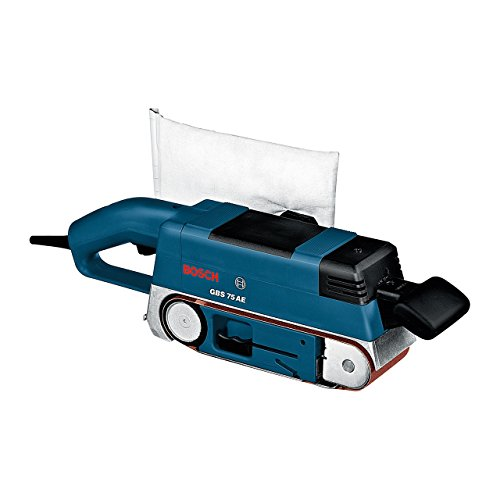 Bosch Professional Bandschleifer GBS 75 AE (inkl. Gewebeschleifband, Staubbeutel, Grafitplatte, im Koffer)