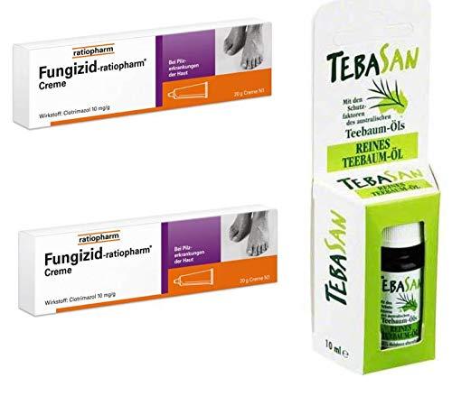 Fungizid (Clotrimazol) Creme Sparset: 2x50g bei Pilzerkrankungen der Haut + gratis 10 ml reines Teebaumöl