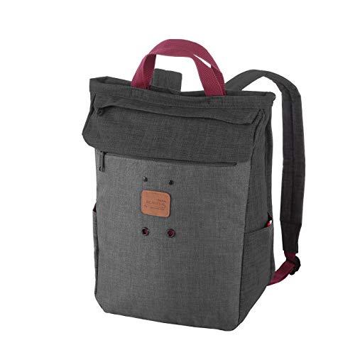 Rada Freizeitrucksack Rolltop Woodz, Daypack für Damen und Herren mit 25 Liter Volumen, wasserabweisender Schulrucksack für Mädchen und Jungen (schwarz/grau)
