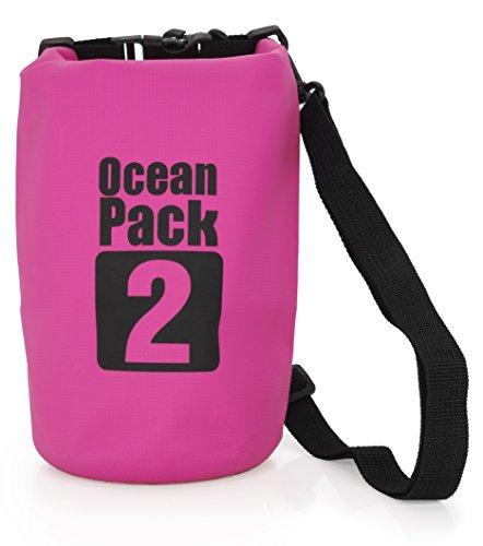 MyGadget Bolsa Estanca 2L - Bolsa Impermeable - Dry Bag Protección Waterproof Mochila para Viajes y Deportes cómoKayak,Surf - Rosa