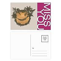 椰子の木の雲のハンモックビーチ ポストカードセットサンクスカード郵送側20個ミス