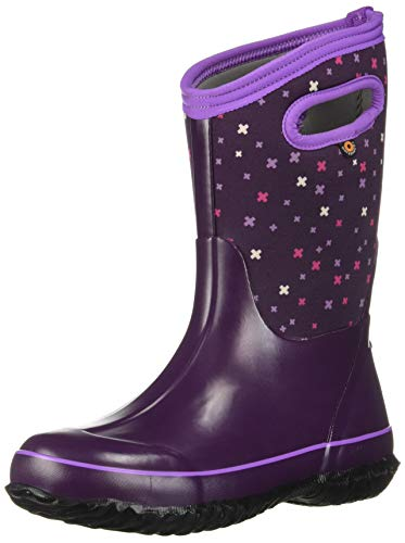 BOGS Kids' Classic High Waterproof Insulated Rubber Neoprene Snow Rain Boot, Plus Print - Eggplant, 5 M US Big Kid