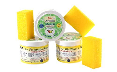 Bio Arcilla Blanca Limpiadora 1800 GR (Lote 3 tarros, incluye 3 esponjas)