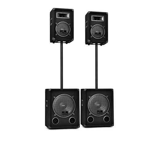 Auna 2-Etagen Doppel aktiv/passiv PA-Set - 2200 Watt Leistung, 2X Auna PW1012 und 2X Auna PW0822, inkl. Stative, schwarz