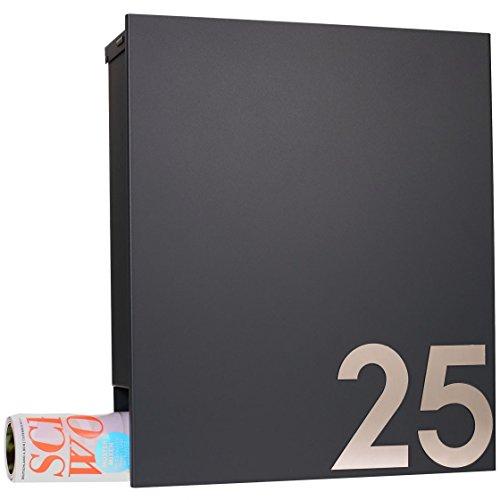 MOCAVI Box 111R Design-Briefkasten mit Zeitungsfach anthrazit-grau (RAL 7016) Wandbriefkasten, Schloss links, groß, Aufputzbriefkasten dunkelgrau, Postkasten anthrazitgrau modern mit Zeitungsrolle - 8