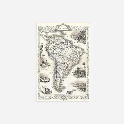 // TPCK // Vintage-Karte von Südamerika aus dem Jahr 1850 Fotodruck, Poster, Geschenk, altes historisches Brasilien, Argentinien, Peru, Anden - A-Größen A3 (29.7 x 42.0cm)