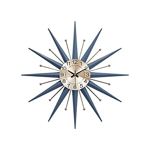 XBYUNDING Reloj de pared azul grande,moderno reloj de pared de metal redondo,movimiento de cuarzo,reloj de pared de metal de mediados de siglo para la decoración de la pared para el hogar,sala de esta
