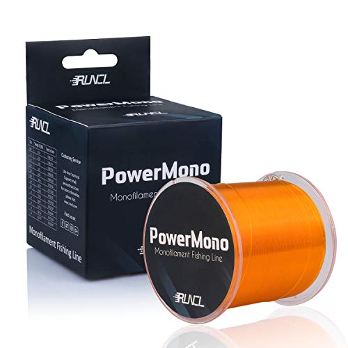 RUNCL PowerMono Fishing Line, Monofilament Fishing Line - Ultimate Strength, Shock Absorber, Suspend in Water, Knot Friendly - Mono Fishing Line (Orange, 6LB(2.7kgs), 500yds)