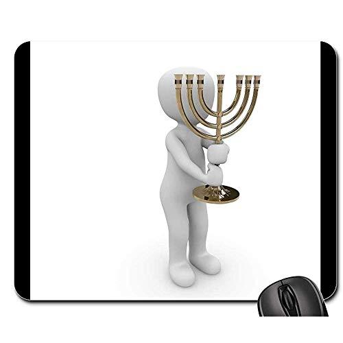Anti Rutsch Gaming Mausepad,Pad Maus Unterlage,Gummiunterseite Mausmatte,Kronleuchter Symbol Jüdisches Haus Der Anbetung Synagoge Bürocomputer Pad,Glatte Mousemat,30X25Cm