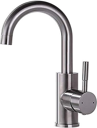 GAVAER Waschtischarmatur, 360 ° Drehbar Mischbatterie Edelstahl-Einhebelmischermit, Bad armatur Wasserhahn und Küchenarmatur fürs Badezimmer, Korrosionsgeschützt und Rostfrei.