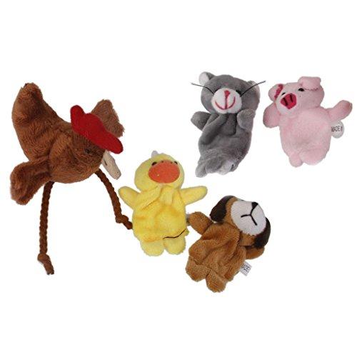 5pcs Conjunto Marionetas Dedo Juego Niños Peluche