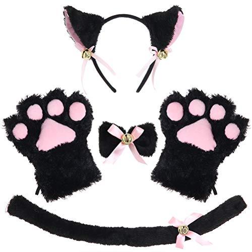 Mekta Festliche Partei Cosplay Zubehör Katzenohren Haarreifen Katze Schwanz Katze Pfote Schleife 4-teilige Set