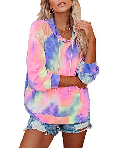 Eanklosco Womens Casual Color Block Tie Dye Print Long Sleeve Loose Pullover Hoodie Sweatshirt Tops
